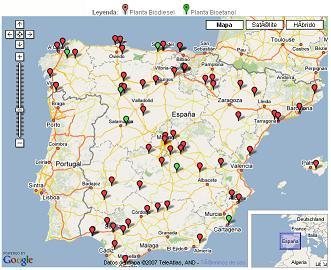 Mapa de plantas de biocombustibles